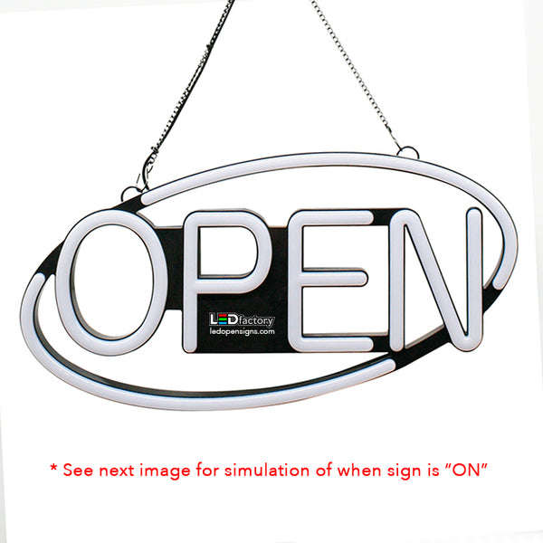 "LED NEON OPEN SIGN - Oval shape, blinking option, 8""X21"" size, Red / White color - Led Open Signs"
