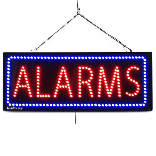 Large LED Window Sign- Alarms -32 inches Wide- LED-Factory (#2568) - Led Open Signs