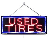 Used Tires - Large LED Window Sign (#2574) - Led Open Signs