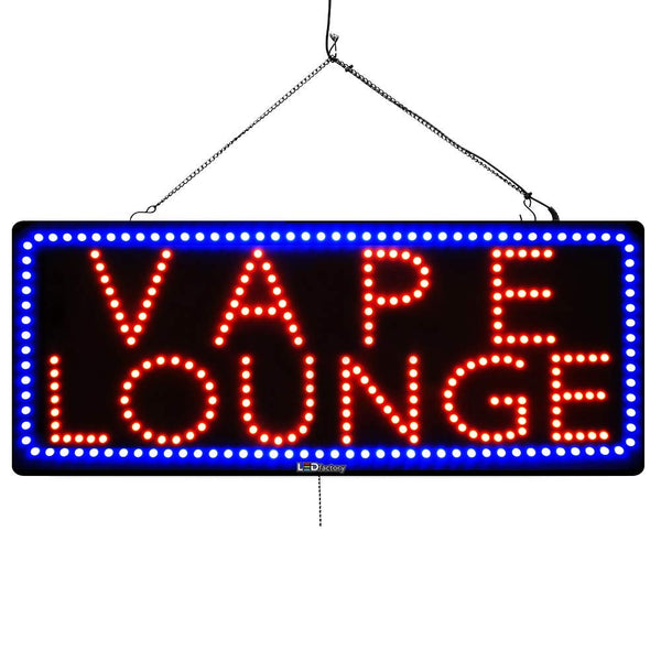 Large LED Window Sign - Vape Lounge -32 inches Wide- LED-Factory (#2580) - Led Open Signs