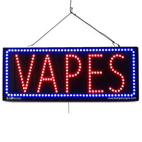 Large LED Window Sign - Vapes -32 inches Wide- LED-Factory (#2583) - Led Open Signs