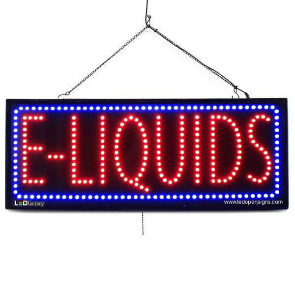 Large LED Window Sign - E-Liquids -32 inches Wide- LED-Factory (#2585) - Led Open Signs