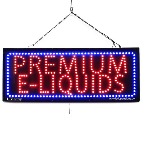 Premium E-Liquids - Large LED Window Sign (#2589) - Led Open Signs