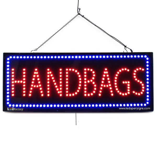 HANDBAGS - Large LED Window Sign (#2595) - Led Open Signs