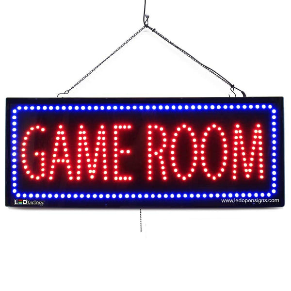 Large LED Window Sign - Game Room - 32 inches Wide - LED-Factory (#2596) - Led Open Signs