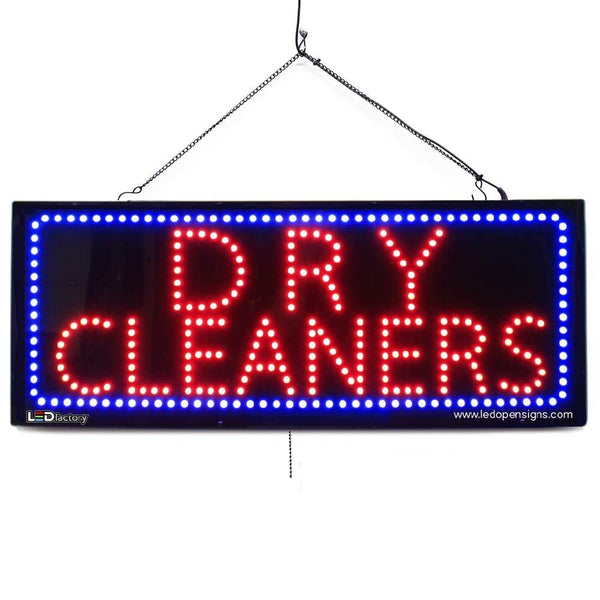 Large LED Window Sign - DRY CLEANERS -32 inches Wide LED Factory (#2599) - Led Open Signs