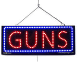 Guns - Large LED Window Sign (#2601) - Led Open Signs