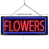 Flowers - Large LED Window Sign (#2602) - Led Open Signs