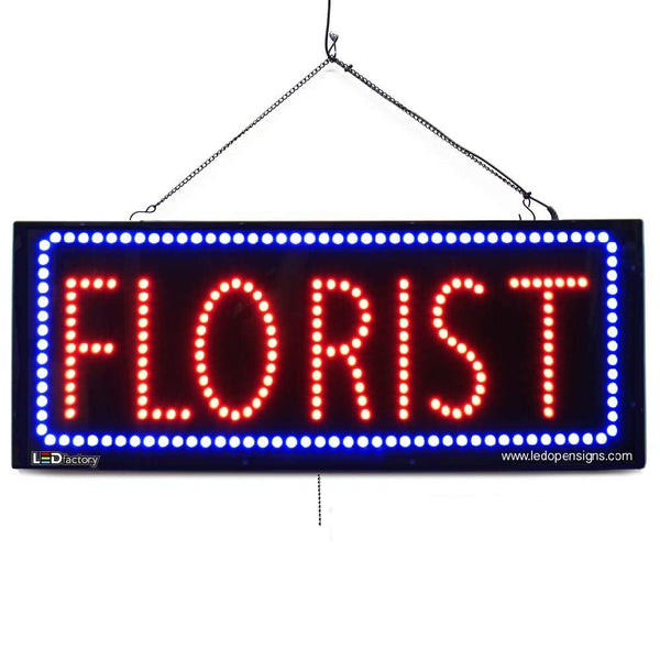 Large LED Window Sign - Florist - 32 inches Wide - LED-Factory (#2603) - Led Open Signs