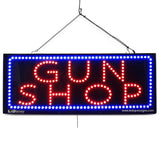 GUN SHOP - Large LED Window Sign (#2609) - Led Open Signs