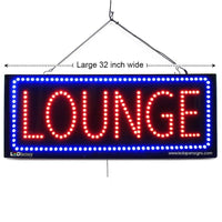 Lounge - Large LED Window Sign (#2610) - Led Open Signs