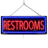 Restrooms - Large LED Window Sign (#2611) - Led Open Signs