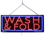 Large LED Window Sign - WASH & FOLD - 32 inches Wide - LED-Factory (#2612) - Led Open Signs