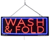 WASH & FOLD - Large LED Window Sign (#2612) - Led Open Signs