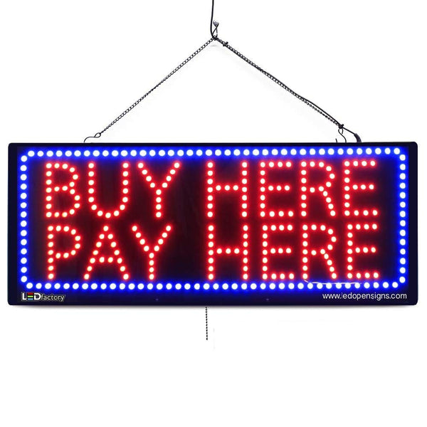 Large LED Window Sign - Buy Here Pay Here - 32 inches Wide - LED-Factory (#2620) - Led Open Signs