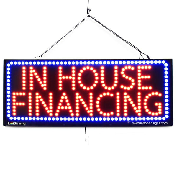 Large LED Window Sign - In House Financing - 32 inches Wide - LED-Factory (#2621) - Led Open Signs