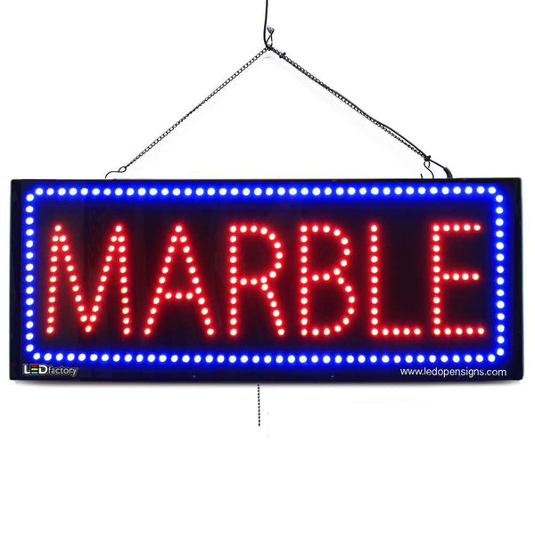 Marble - Large LED Window Sign (#2623) - Led Open Signs