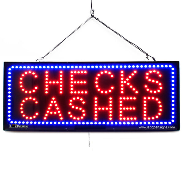 Checks Cashed - Large LED Window Sign (#2646) - Led Open Signs
