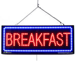 Large LED Window Sign - Breakfast - 32 inches Wide - LED-Factory (#2653) - Led Open Signs