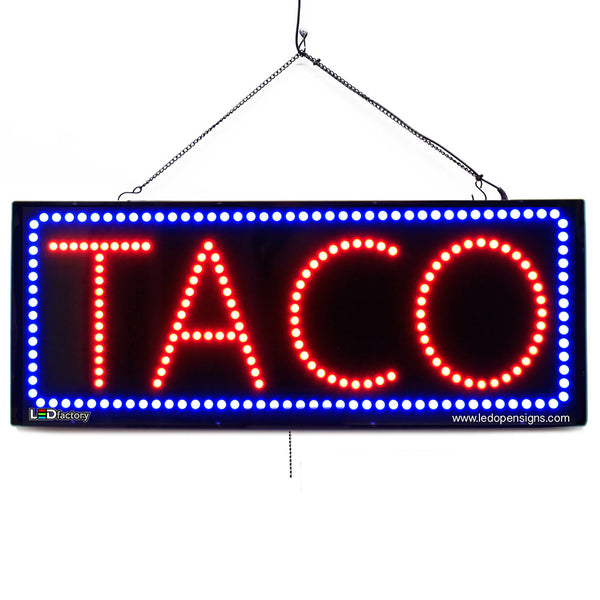 Taco - Large LED Window Sign (#2657) - Led Open Signs