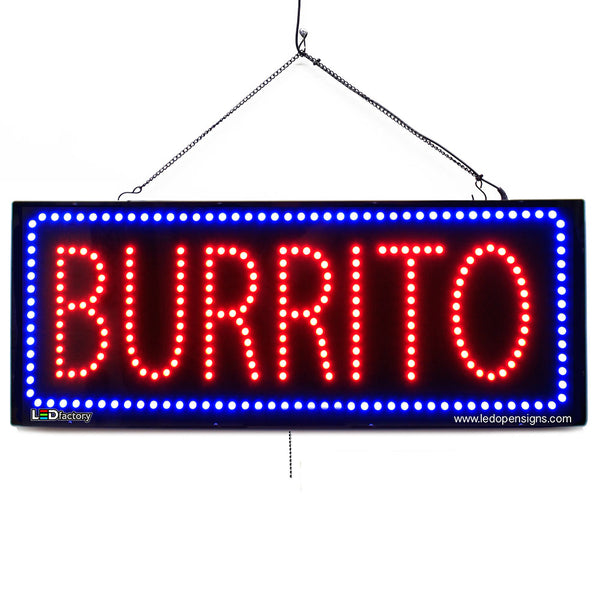 Burrito - Large LED Window Sign (#2659) - Led Open Signs