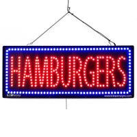 Hamburgers - Large LED Window Sign (#2665) - Led Open Signs