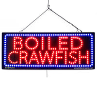 Large LED Window Sign - Boiled Crawfish - 32 inches Wide - LED-Factory (#2673) - Led Open Signs