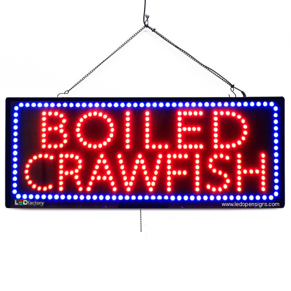 Boiled Crawfish - Large LED Window Sign (#2673) - Led Open Signs
