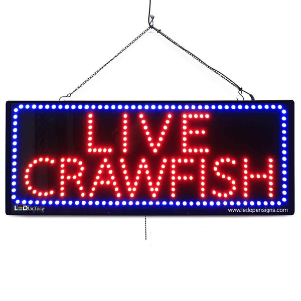 Large LED Window Sign - Live Crawfish - 32 inches Wide - LED-Factory (#2674) - Led Open Signs