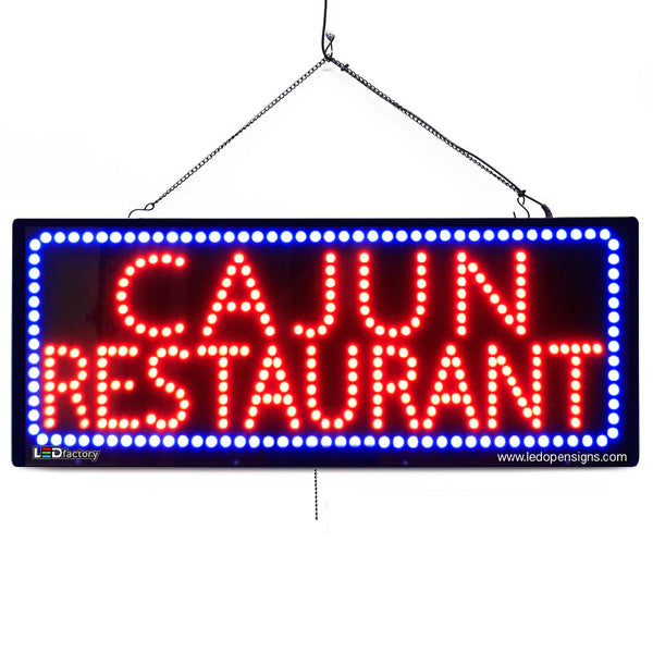 Large LED Window Sign - Cajun Restaurant - 32 inches Wide - LED-Factory (#2675) - Led Open Signs