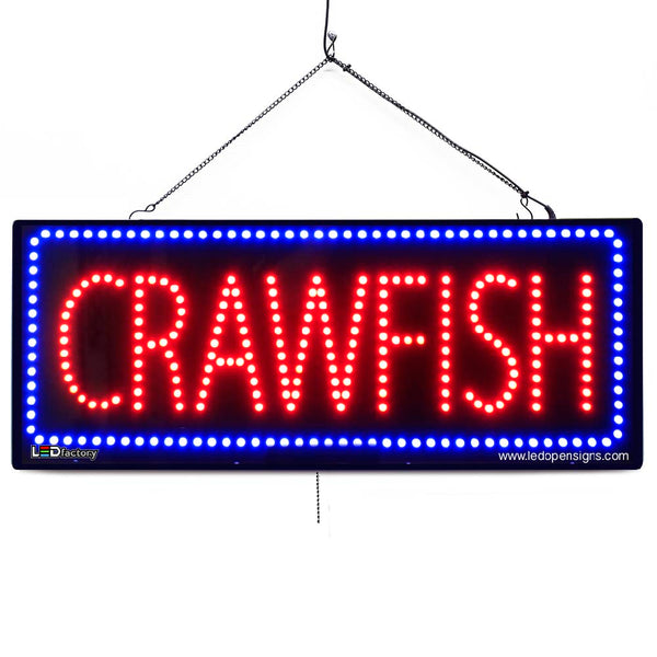 Large LED Window Sign - Crawfish - 32 inches Wide - LED-Factory (#2676) - Led Open Signs