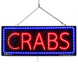 Crabs - Large LED Window Sign (#2677) - Led Open Signs