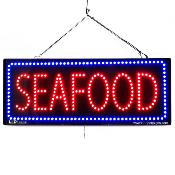 Seafoods - Large LED Window Sign (#2678) - Led Open Signs