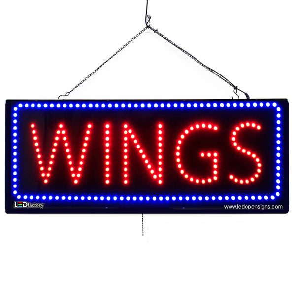 Large LED Window Sign - Wings - 32 inches Wide - LED-Factory (#2685) - Led Open Signs