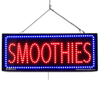 Smoothies - Large LED Window Sign (#2691) - Led Open Signs