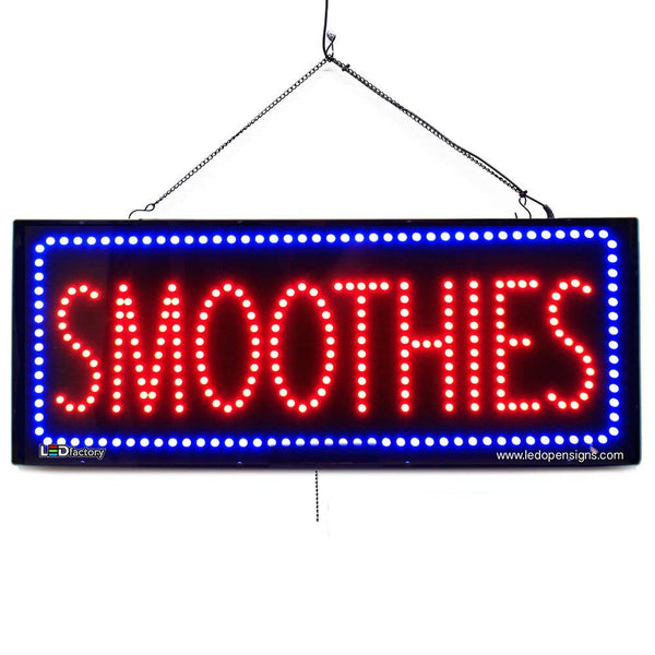 Large LED Window Sign - Smoothies - 32 inches Wide - LED-Factory (#2691) - Led Open Signs
