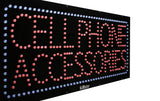 Large LED Window Sign - Cellphone Accessories - 32 inches Wide - LED-Factory (#2705) - Led Open Signs