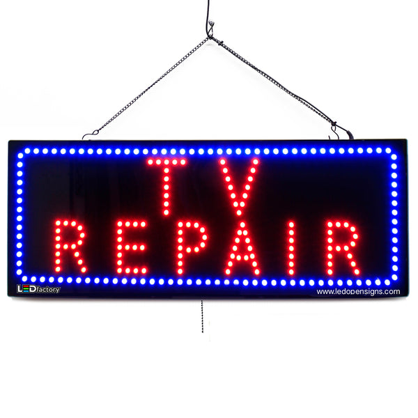 TV Repair- Large LED Window Sign (#2711) - Led Open Signs