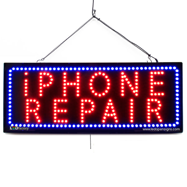 IPhone Repair- Large LED Window Sign (#2712) - Led Open Signs