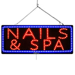 Large LED Window Sign - Nails & SPA - 32 inches Wide - LED-Factory (#2714) - Led Open Signs