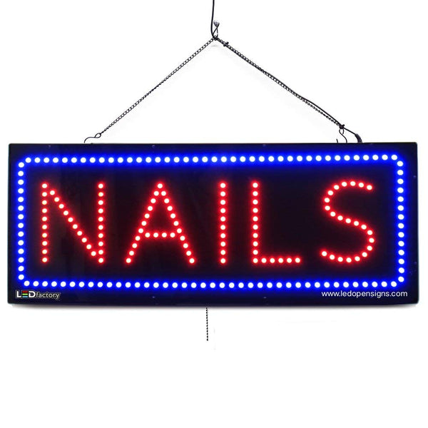 Large LED Window Sign - Nails - 32 inches Wide - LED-Factory (#2716) - Led Open Signs