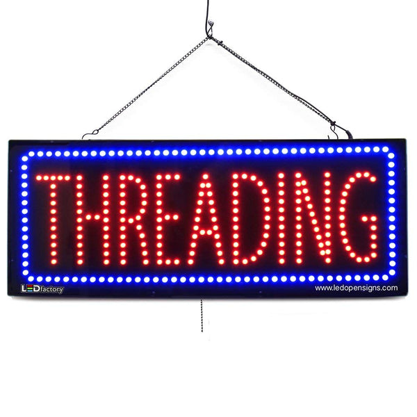 Large LED Window Sign - Threading - 32 inches Wide - LED-Factory (#2717) - Led Open Signs