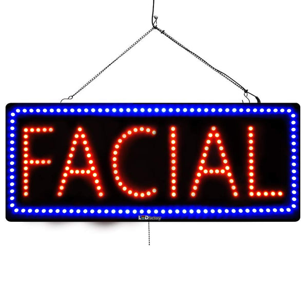 Facial - Large LED Window Sign (#2722) - Led Open Signs