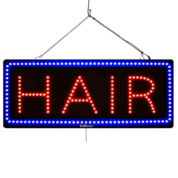 Large LED Window Sign - Hair - 32 inches Wide - LED-Factory (#2723) - Led Open Signs