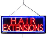 Large LED Window Sign - Hair Extensions - 32 inches Wide - LED-Factory (#2724) - Led Open Signs