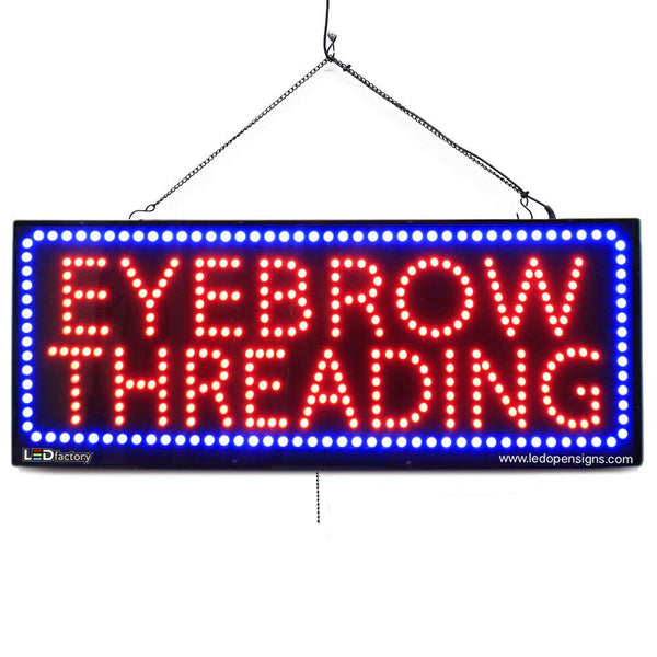 Large LED Window Sign - Eyebrow Threading - 32 inches Wide - LED-Factory (#2726) - Led Open Signs