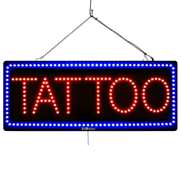 Large LED Window Sign - Tattoo - 32 inches Wide - LED-Factory (#2727) - Led Open Signs