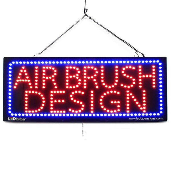 Large LED Window Sign - Air Brush Design - 32 inches Wide - LED-Factory (#2735) - Led Open Signs
