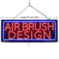 Air Brush Design - Large LED Window Sign (#2735) - Led Open Signs