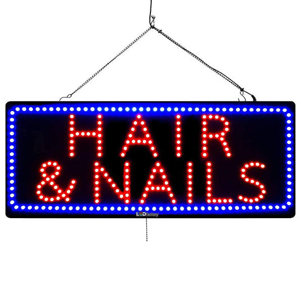 Large LED Window Sign - Hair & Nails - 32 inches Wide - LED-Factory (#2736) - Led Open Signs